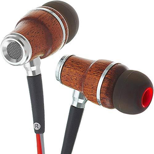 Symphonized Nrg 3.0 Wood Earbuds Wired, In Ear Headphones With Microphone For Computer & Laptop, Ear Phones For Android With Stereo Sound (Red & Gray)