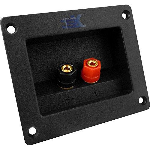 Jex Electronics Square Recessed Speaker 2X Terminal Binding Post Plate For Sub-Woofer