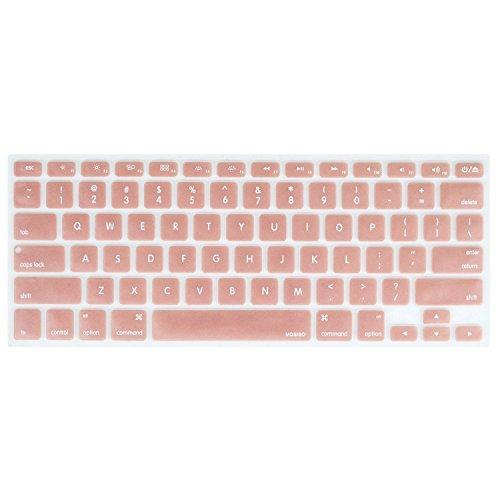 Mosiso Silicone Keyboard Cover Compatible With Macbook Air 13 Inch A1466 A1369 2010-2017&Compatible With Macbook Pro 13/15 Inch (With/Without Retina Display, 2015 Or Older Version), Rose Gold