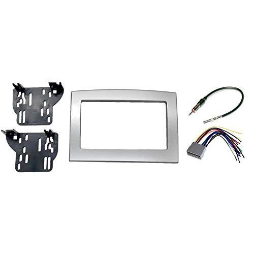 Silver Double Din Dash Install Kit W/Wiring Harness Radio Stereo Compatible With Dodge Ram