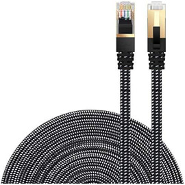 Cat 7 Ethernet Cable, Danyee Nylon Braided 10Ft High Speed Network Cable Lan Cable Wires Cat 7 Rj45 Ethernet Cable Cord 3Ft 10Ft 16Ft 26Ft 33Ft 50Ft 66Ft 100Ft (Black 10Ft)