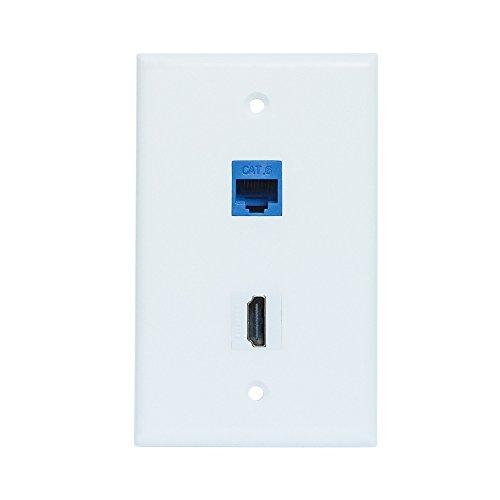 Hdmi And Ethernet Wall Plate - 4K Hdmi Rj45 Cat6 Ethernet Wall Plate Female To Female For Hdtv