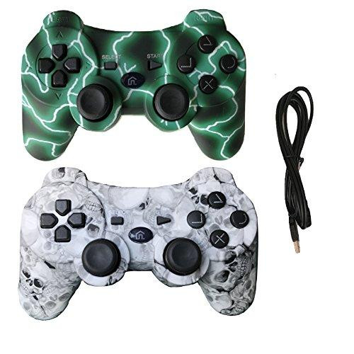2 Pack Wireless Bluetooth Vibration Controller Ps3, Gamepad Remote Playstation 3 Charge Cable - Green Lightning Skull Models