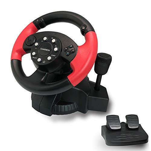 Gamemon 8In1 Racing Wheel Compatible With Playstation4 Ps4/Playstation3 Ps3/Pc/Xbox 360/Xbox One/Nintendo Switch/Android With Gear And Foot Pedal