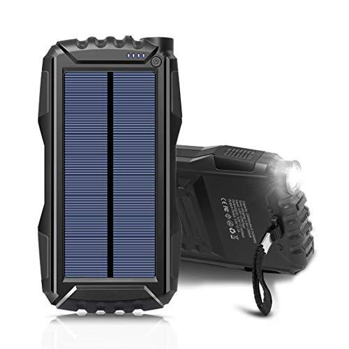 25000Mah Portable Solar Power Bank Dual Usb Output Battery Bank With Strong Led Light, Outdoor Solar Charger Phone External Battery Shockproof Dustproof For Iphone Series, Smart Phone, More Black