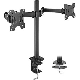 Huanuo Dual Monitor Stand For 13-27 Inch Screens, Fully Adjustable Dual Monitor Mount
