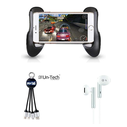 UnTech Universal Gamepad Cover Stands Plus 3 in 1 charging cable with 3.5mm wired earphones(PACK OF 2)