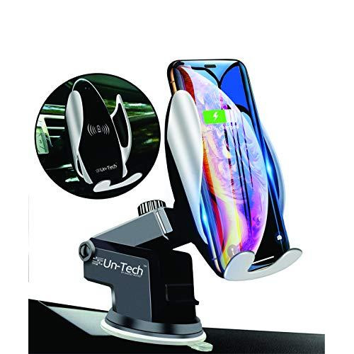 Un-Tech Qi Wireless Car Charger Mount Automatic Clamping Dashboard Air Vent Gravity Sensor Phone Holder for iPhone X/Xs MAX/XS/XR/X/8/8+,Samsung S10/S10+/S9/S9+/S8/S8+ (with Suction Base Stand) (PACK OF 3)