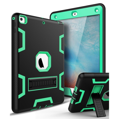 Apple IPad Air 2nd / A1566 / A1567 Shockproof Duty Hard Stand Case Cover Black Green