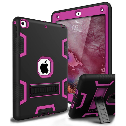 Apple IPad Air 1st / A1474 / A1475 Shockproof Duty Hard Stand Case Cover Black Pink