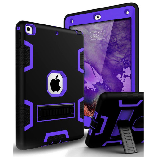 Apple IPad Air 1st / A1474 / A1475 Shockproof Duty Hard Stand Case Cover Black Purple