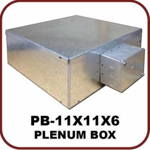 """Plenum Metal Box, (11"""" X 11"""" X 6"""") With Duplex Electrical Outlet Built In"""