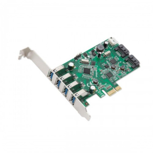 PCIe x1 Interface Version 2.0, 4-Port USB3.0 + 2-Port SATA 6G Combo Card using VIA and ASMedia Chipsets, with Low Profile Bracket