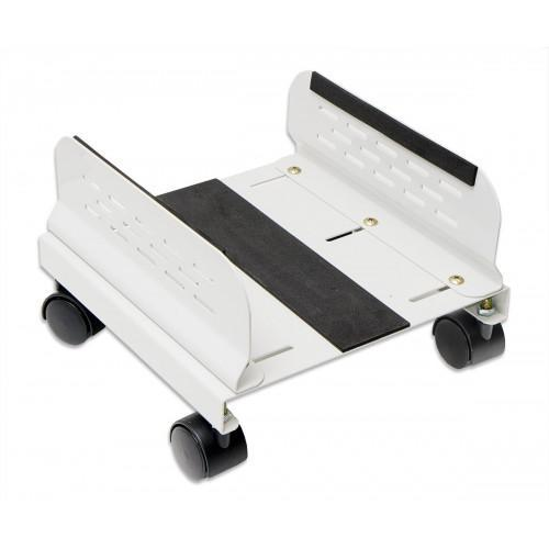 CPU Stand with Castors for Computer Case, Aluminum, Beige Color, Adjustable Width from 13cm to 25cm