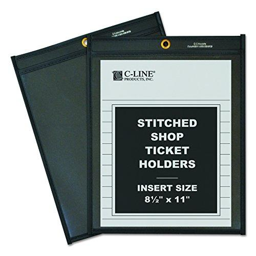 C-Line Shop Ticket Holders Stitched One Side Clear 8-1/2 X 11 Box Of 25 (45911)