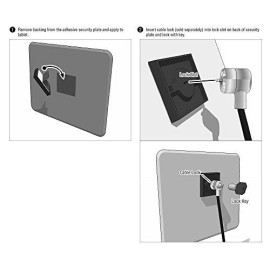 ARKON Square 3M VHB Adhesive Security Plate with Slot for Cables to Lock Down Laptops, Tablets, Monitors and Other Devices (APVHBLOCK)