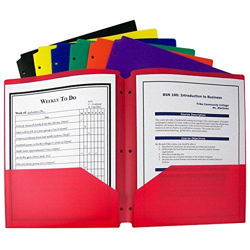 C-Line Two-Pocket Heavyweight Poly Portfolio With 3-Hole Punch Assorted Colors Box Of 36 (33930-36)