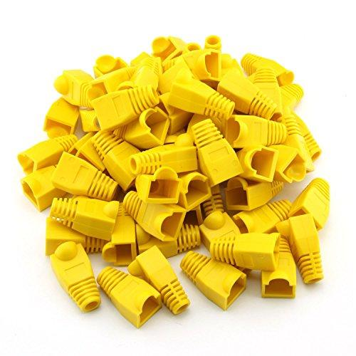 100 Pcs Cat5E Cat6 Rj45 Cable Boots Plug Cover Ethernet Network Strain Relief Connector (Yellow)