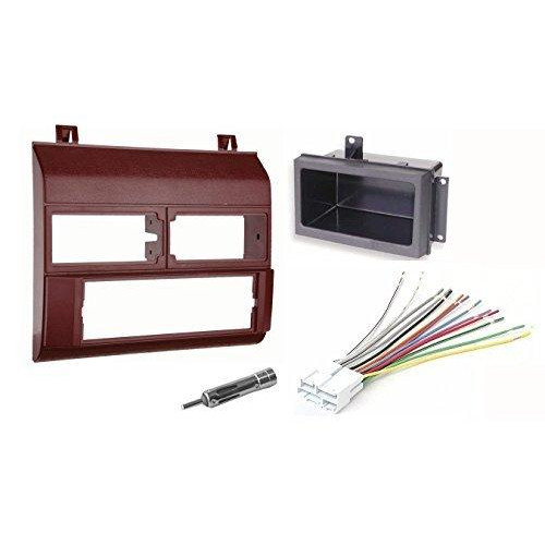 Single Din Dash Kit + Pocket Kit + Wire Harness + Antenna Adapter.Fits 1988-1996 Red Chevrolet ; GMC Complete
