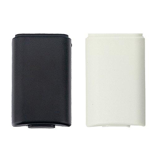 Yueton Pack Of 2 Black And White Replacement Aa Battery Case Back Cover Shell For Xbox 360 Controller