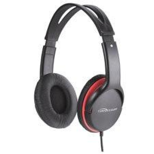"""Stereo Headset W/Volume Control, 71"""" Cord, Black/Red, Sold As 2 Each"""