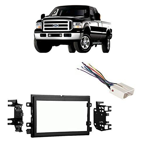 Compatible with Ford F-250/350/450/550 2005-2007 Double DIN Harness Radio Dash Kit