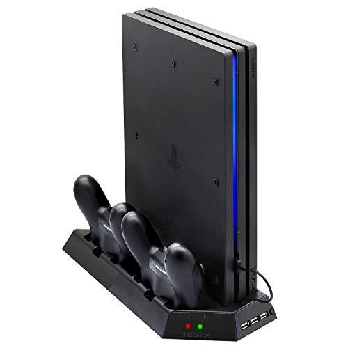 Vertical Stand For Ps4 Pro With Cooling Fan, Fastsnail Controller Charging Station For Playstation 4 Pro, Charger For Dualshock 4 Controllers With Led Charging Indicator