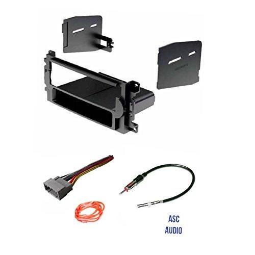 ASC Audio Car Stereo Radio Install Dash Kit, Wire Harness, and Antenna Adapter to Add a Single Din Radio for some Chrysler Dodge Jeep without Factory Navigation- Vehicles listed below