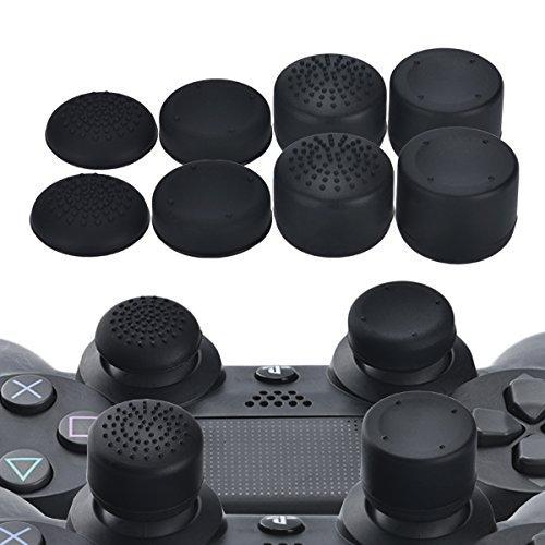 Yorha Professional Thumb Grips Thumbstick Joystick Cap Cover (Black) Extra High 8 Units Pack For Ps4 Dualshock 4, Switch Pro, Ps3, Xbox 360, Wii U Tablet, Ps2 Controller
