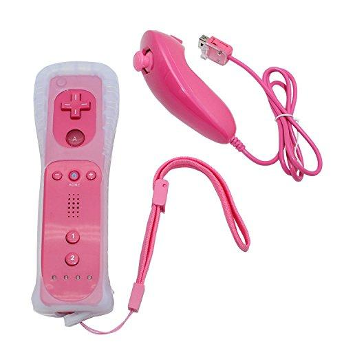 Wii Controller,Yudeg Wii Remote And Nunchuck Controllers With Silicon Case For Wii And Wii U(Not Motion Plus) (Pink)