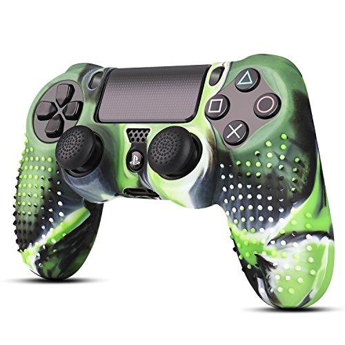 Tnp Ps4 / Slim / Pro Controller Skin Grip Cover Case Set - Protective Soft Silicone Gel Rubber Shell Studded Anti-Slip Thumb Stick Caps For Sony Playstation 4 Controller Gaming Gamepad, Mystic Green