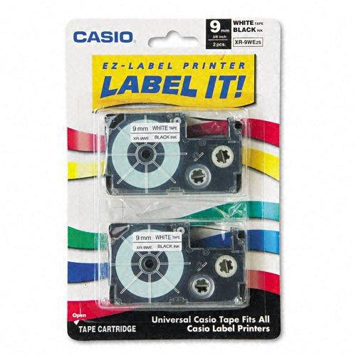 """CASIO BR 3/8"""" XR TAPES 2PK 9MM BLACK ON WHITE, 26.1' yield"""