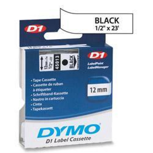 """DYMO BR LW450DUO D1 TAPE 1-BLACK/WHITE 1/2"""", 23' yield"""