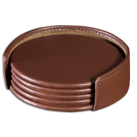 Chocolate BrownLeatherette 4 Coaster Set with Holder