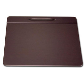 """Chocolate BrownLeatherette 17"""" x 14"""" Top-Rail Conference Pad with Pen Well"""