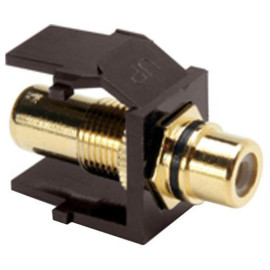 Leviton QuickPort RCA Snap-In Connector (Gold-Plated), Black Stripe, Ivory