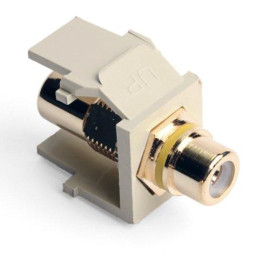 Leviton QuickPort RCA Snap-In Connector (Gold-Plated), Yellow Stripe, Ivory