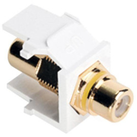 Leviton QuickPort RCA Snap-In Connector (Gold-Plated), Yellow Stripe, Light Almond