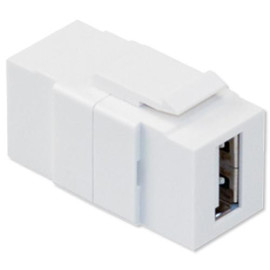 Leviton QuickPort USB Feedthrough Snap-In Connector, Ivory