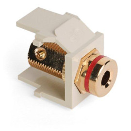 Leviton QuickPort Banana Jack Snap-In Connector, Red Stripe, Ivory