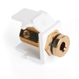 Leviton QuickPort Banana Jack Snap-In Connector, Black Stripe, White