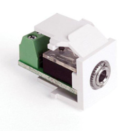 Leviton QuickPort 3.5mm Stereo Screw Terminal Snap-In Connector, White