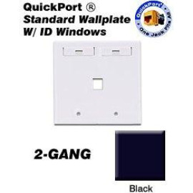Leviton QuickPort Wallplate, 2-Gang, 1-Port with ID Window, Black