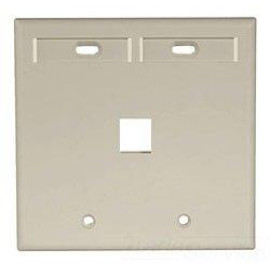Leviton QuickPort Wallplate, 2-Gang, 1-Port with ID Window, Ivory