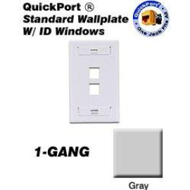 Leviton QuickPort Wallplate, 1-Gang, 2-Port with ID Window, Gray