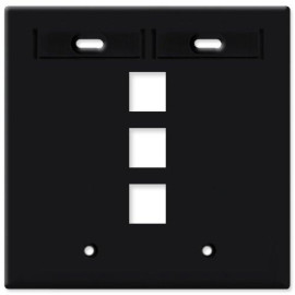 Leviton QuickPort Wallplate, 2-Gang, 3-Port with ID Window, Black