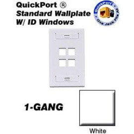 Leviton QuickPort Wallplate, 1-Gang, 4-Port with ID Window, White