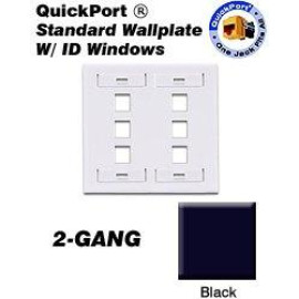 Leviton QuickPort Wallplate, 2-Gang, 6-Port with ID Window, Black
