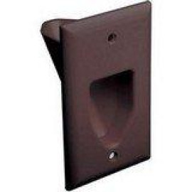 DataComm Recessed Low Voltage Cable Plate, 1-Gang, Brown