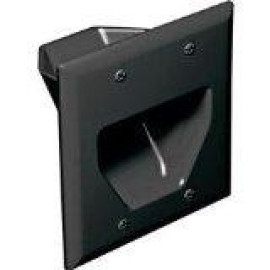 DataComm Recessed Low Voltage Cable Plate, 2-Gang, Black